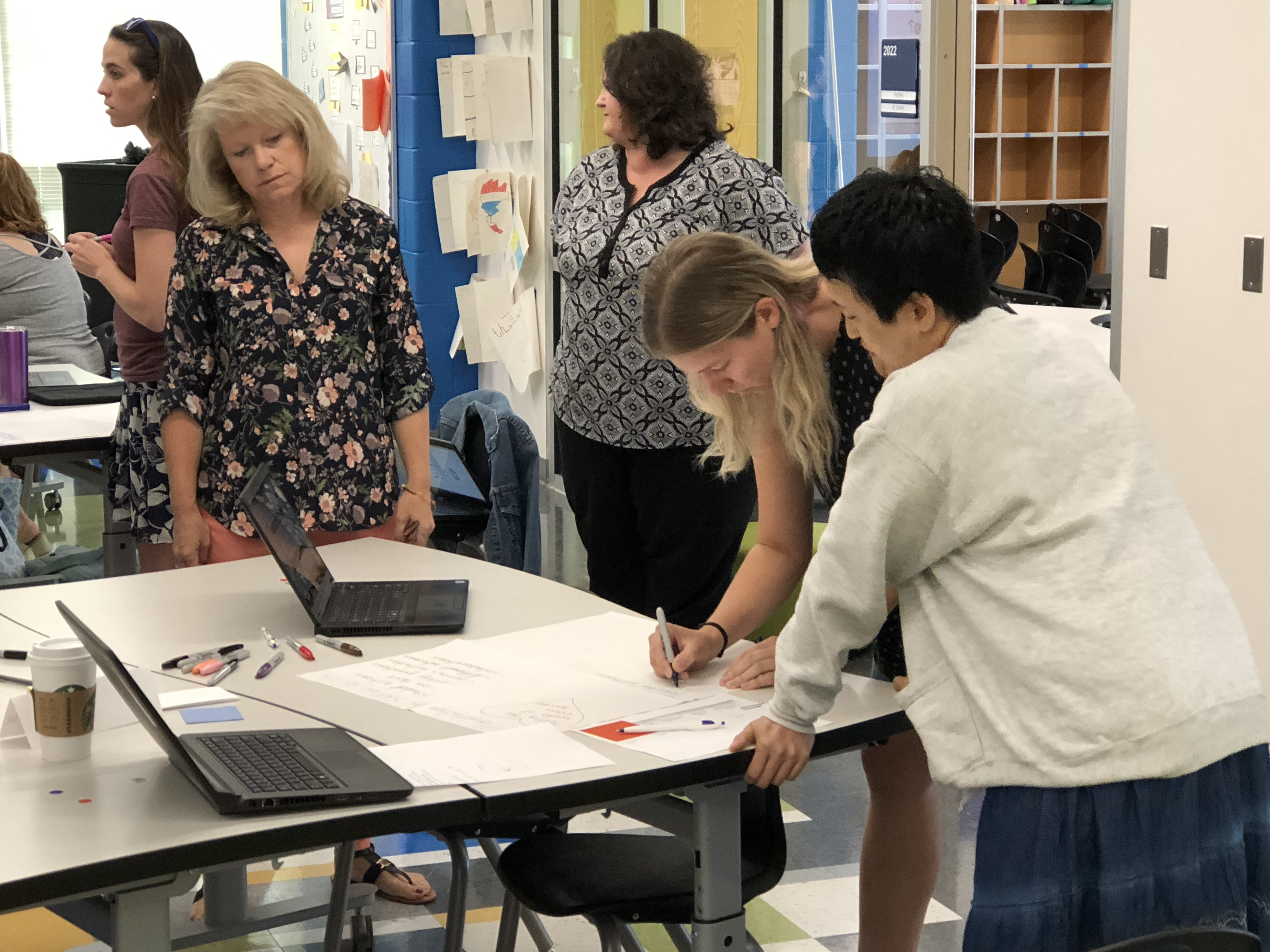 Teachers making a poster during the Design Studio