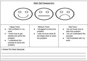 Math Self-Assessment Exit Ticket