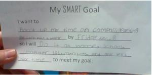 SMART goal sentence frame.