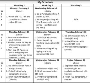 Choice Board Calendar
