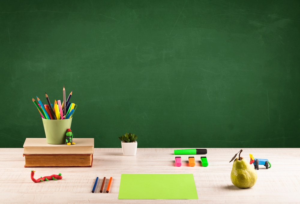 Back to school concepty with clear blackboard background, desk, items-1