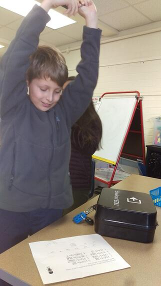 Student with the breakout box
